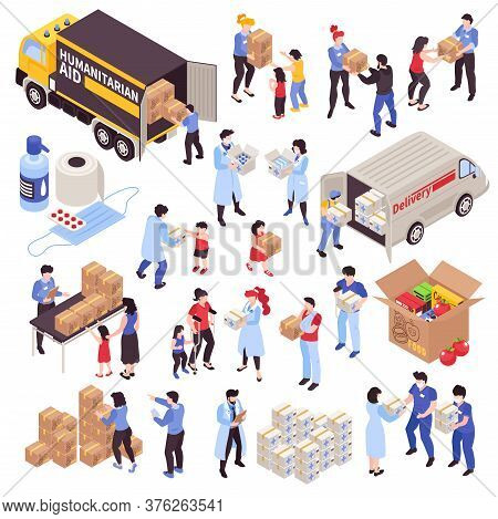 Humanitarian Support Isometric Icons Set With Volunteers Refugees Disabled People And Boxes With Foo