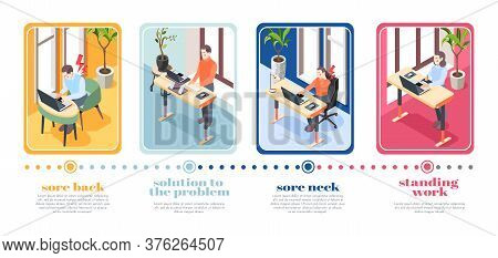 Ergonomic Workplace Four Posters Illustrated Correct Sitting And Standing Posture For Using Computer
