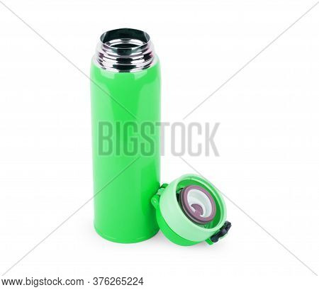 Blue And Black Thermos, Thermo Bottle, On White Background, Isolated