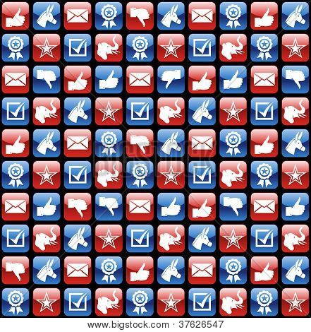 Usa Elections Glossy Internet Icons Pattern