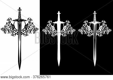 Medieval Knight Sword Among Rose Flower Decor - Black And White Vector Heraldic Weapon Emblem