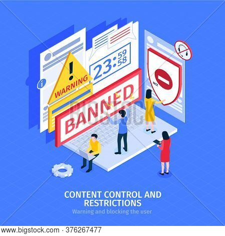 Internet Blocking Composition With People Banned On Social Site 3d Isometric Vector Illustration