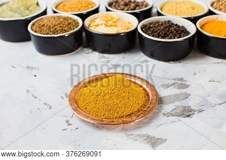 Plate With Mixture, Bowl With Components On White Background