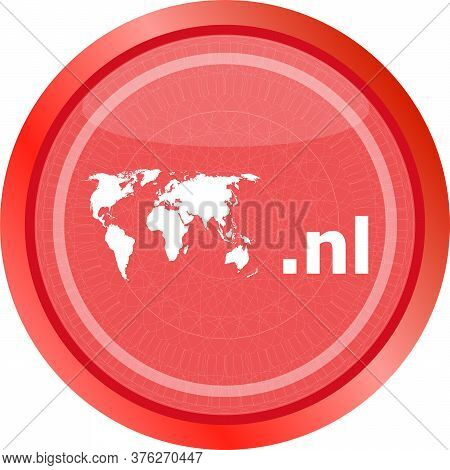Domain Nl Sign Icon. Top-level Internet Domain Symbol With World Map. Domain Icon. World Map Icon