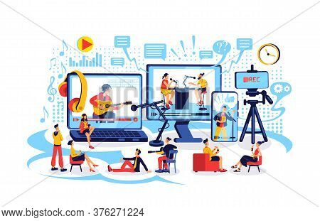 Online Content Creation Flat Concept Vector Illustration. Record And Broadcast Stream. Watch Video.
