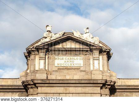 Madrid, Spain; April 2010: Upper Area Of The Civil Sculpture, La Puerta De Alcalá, In The Centre Of
