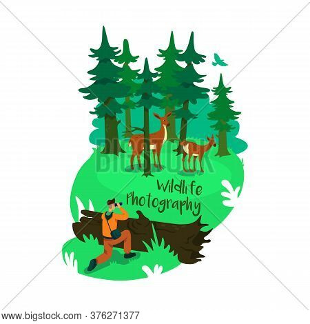 Conservation 2d Vector Web Banner, Poster. Wildlife Photography Phrase. Tourist Photographer Flat Ch