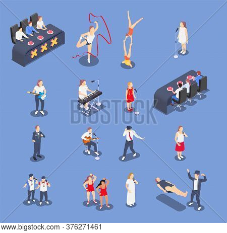 Isometric Icons Set With Performing Talent Show Contestants And Judges Isolated On Blue Background 3