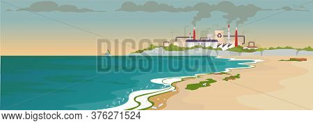 Contaminated Sandy Beach Flat Color Vector Illustration. Ecological Catastrophe. Factory Emission. N