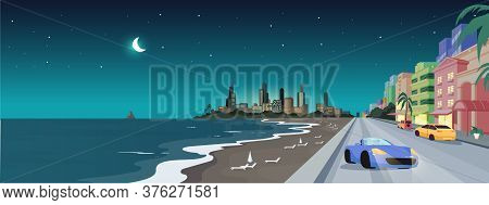 South Beach At Night Flat Color Vector Illustration. Summer Holiday In Florida. Panorama Of Miami Su