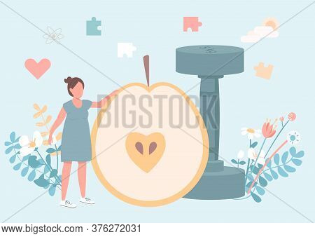 Fitness For Women Flat Concept Vector Illustration. Nutrient Diet. Exercise For Physical Wellness. H