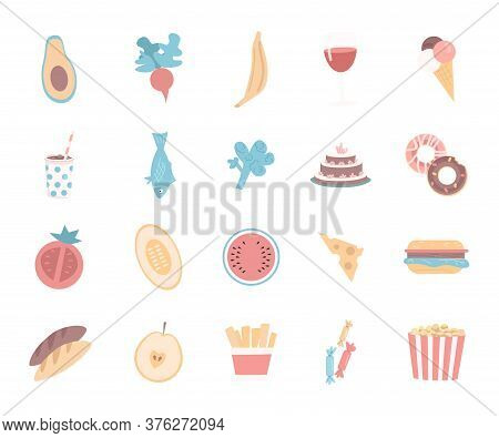 Food Flat Color Vector Objects. Healthy Vegetables And Fruits. Junk And Fast Food. Sweet Cake. Unhea