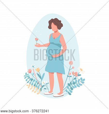Happy Pregnant Woman Flat Color Vector Faceless Character. Child Birth. Girl Expecting Baby. Woman W