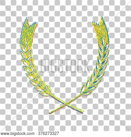 Wheat Sign Illustration. Spike. . Blue To Green Gradient Icon With Four Roughen Contours On Stylish