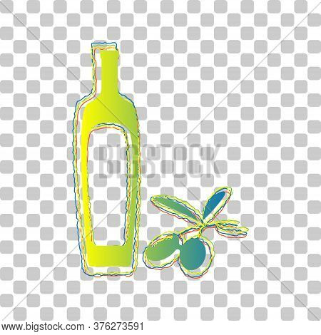 Black Olives Branch With Olive Oil Bottle Sign. Blue To Green Gradient Icon With Four Roughen Contou