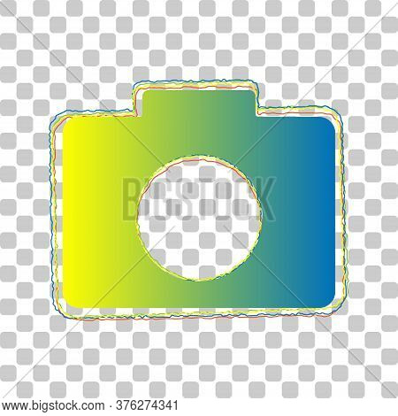 Digital Camera Sign. Blue To Green Gradient Icon With Four Roughen Contours On Stylish Transparent B