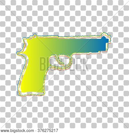 Gun Sign Illustration. Blue To Green Gradient Icon With Four Roughen Contours On Stylish Transparent