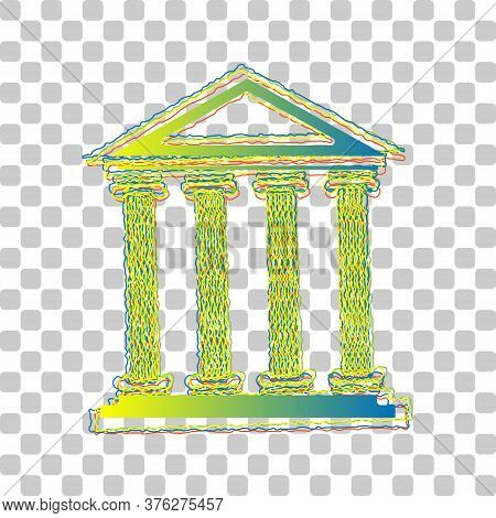 Historical Building Illustration. Blue To Green Gradient Icon With Four Roughen Contours On Stylish
