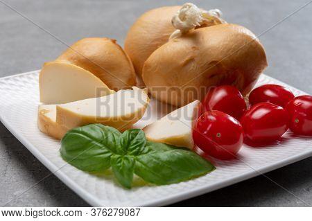 Italian Semi Hard Handmade Smoked Scamorza Cheese, From Cow Milk From Apulia Or Calabria Regions Clo
