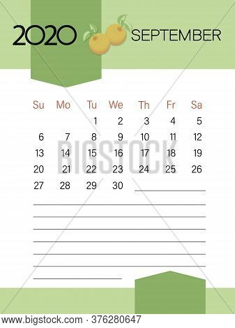 SEPTEMBER 2020. Calendar template. Apples. Page. Planner diary in a minimalist style.
