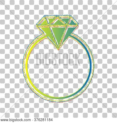 Diamond Sign Illustration. Blue To Green Gradient Icon With Four Roughen Contours On Stylish Transpa