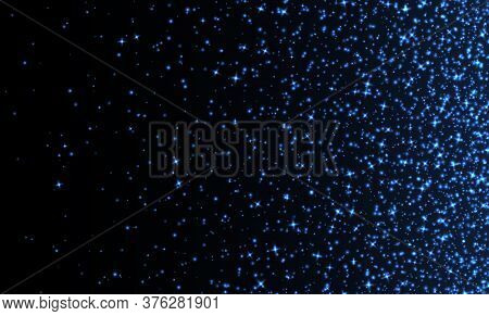Blue Sparkles, Abstract Luminous Particles, Sparkling Stardust On A Dark Background. Flying Christma