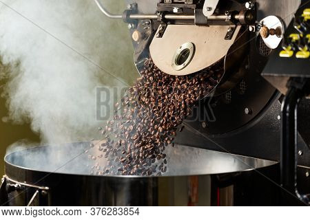 Fresh Roasted Natural Coffee Beans Cascading Out Of Industrial Coffee Bean Roaster Machine Inside Th