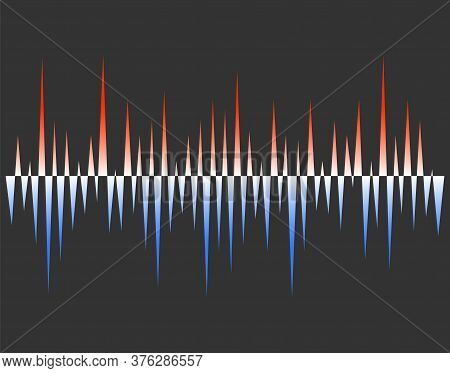 Abstract Colorful Pulse Wave Lines Equalizer. Cold And Warm Soundwave. Digital Audio Concept Of Musi