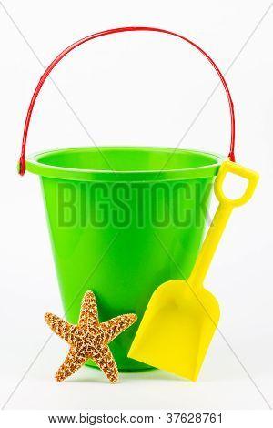 A Sand Bucket, Shovel, And Starfish.