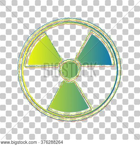 Radiation Round Sign. Blue To Green Gradient Icon With Four Roughen Contours On Stylish Transparent