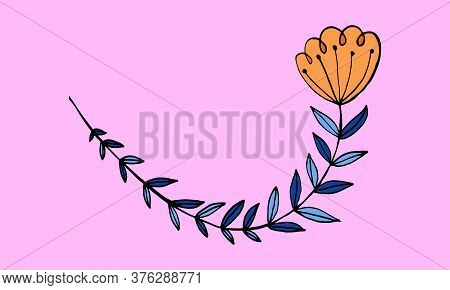 Hand Drawn Flower Head On A Stem. Doodle Illustration. Simple Floral Element Isolated On Pink Backgr