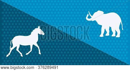 Elephant And Donkey On A Background With Stars - Vector. Presidential Election In The United States