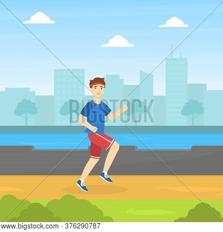 Guy Running In The Park, Physical Workout Training, Young Man Doing Physical Activity Outdoors Vecto