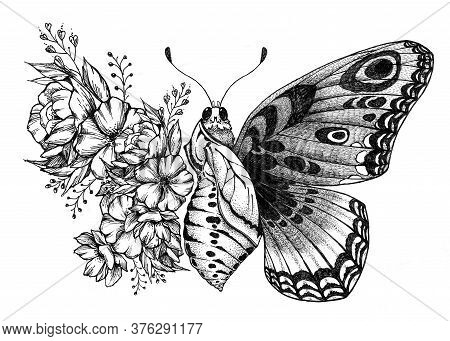 Butterfly Tattoo Design With Flowers. Turning Chrysalis Into Butterfly. Birth Of Butterfly From Coco