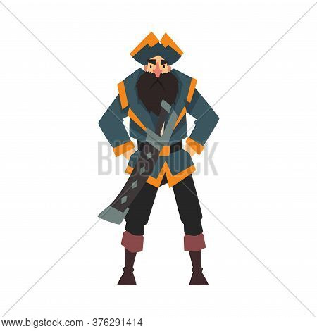 Funny Pirate In Tricorne Hat Standing With Hands On His Hips, Male Buccaneer Cartoon Character Vecto