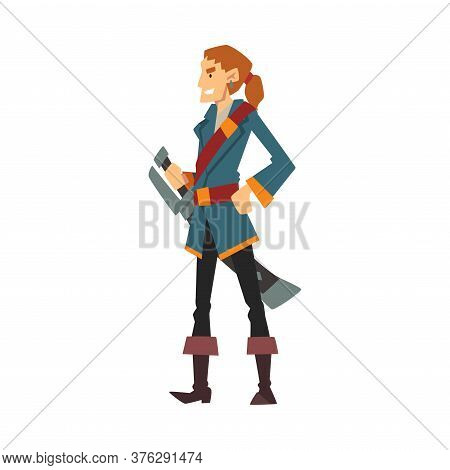Angry Pirate With Saber, Male Buccaneer Cartoon Character Vector Illustration