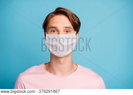Close-up Portrait Of His He Nice Content Youth Guy Wearing Safety Mask Stay Home Social Distance Pre