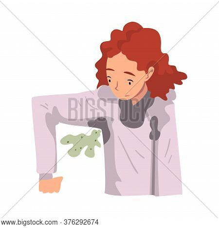 Sweating Girl Feeling Bad Smell Coming From Her Own Armpits Vector Illustration