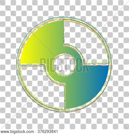 Cd Or Dvd Sign. Blue To Green Gradient Icon With Four Roughen Contours On Stylish Transparent Backgr