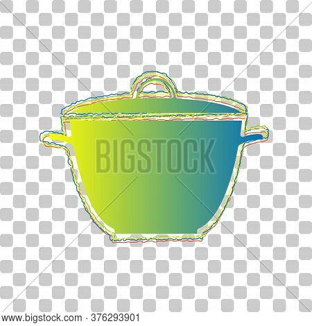 Saucepan Simple Sign. Blue To Green Gradient Icon With Four Roughen Contours On Stylish Transparent