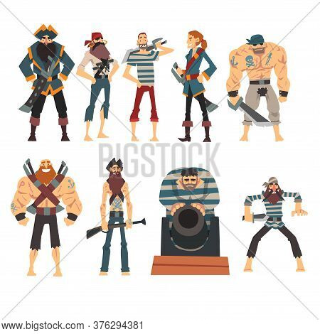 Funny Pirates Collection, Angry Armed Male Buccaneers Cartoon Characters Vector Illustration
