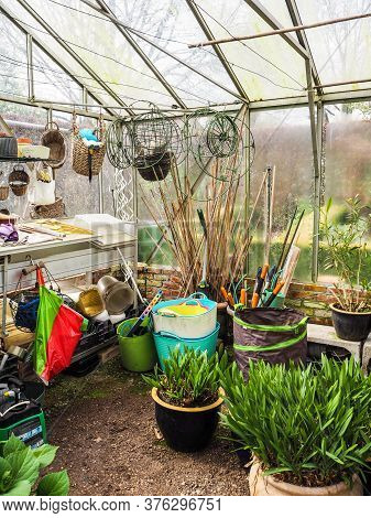 The Interior Of A Small Glass Greenhouse Used For Hibernating Potted Plants, Belgium