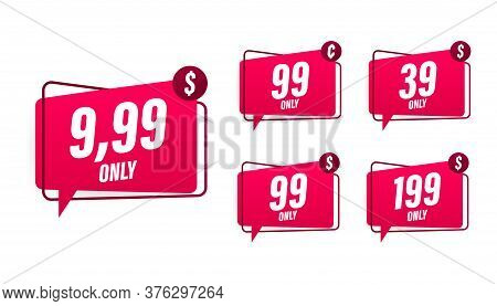Discount Sticker. Template With 99 Only. Vector Template Design. Sale, Price Tag. Sale Banner Badge.