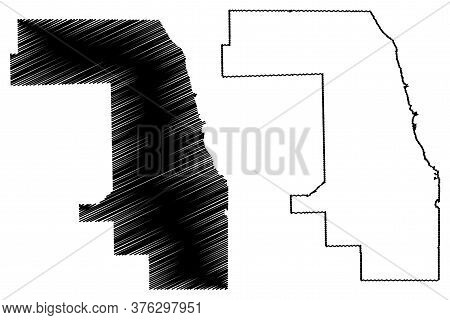 Cook County, Illinois (u.s. County, United States Of America, Usa, U.s., Us) Map Vector Illustration