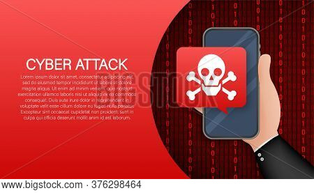 Cyber Security Concept. Cyber Security Concept. Virus Protection. Vector Stock Illustration.