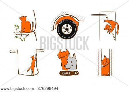 Vector Illustration Design For Pet Rescue Service. Cat Stuck At Window, Tree, In Hole Sleeping On Wh