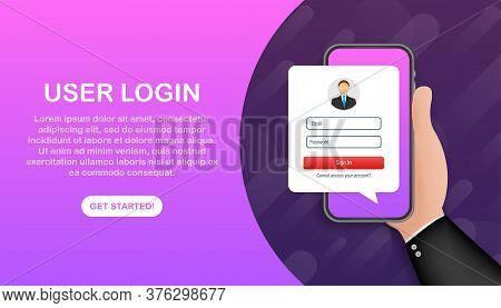 Sign In To Account, User Authorization, Login Authentication Page Concept. Smartphone With Login And