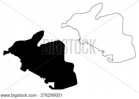 Port Of Spain City (republic Of Trinidad And Tobago, Island) Map Vector Illustration, Scribble Sketc