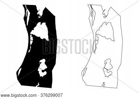 Cockburn Town City (turks And Caicos Island, United Kingdom) Map Vector Illustration, Scribble Sketc