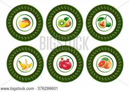 A Collection Of Plates With A Beautiful Design.tropical Fruits In The Author's Design Of Plates.